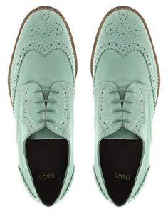 ASOS MAYBE Leather Brogues With Contrast Sole