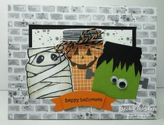 Cardstock:  Whisper White, Old Olive, Basic Black, Basic Gray, Halloween Night Specialty Designer Series Paper Stamp Set:  Jar of Haunts, Gorgeous Grunge, Teeny Tiny Wishes Accessories:  Halloween Night Baker's Twine, Google Eyes (non SU!),  Duet Banner Punch