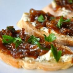 Crisp toast with buttery sharp blue cheese and sweet caramelized onions-appetizer for a contemporary Thanksgiving,