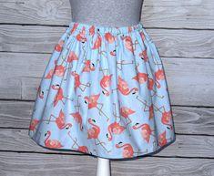 Błękitna spódniczka we flamingi - du-nord - Spódnice