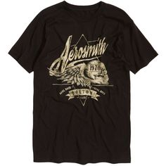 Hot Topic Aerosmith Winged Skull T-Shirt (240 ARS) ❤ liked on Polyvore featuring men's fashion, men's clothing, men's shirts, men's t-shirts, mens ripped shirts, faded glory men's shirts, mens wing collar shirt, mens skull shirts and mens distressed t shirt