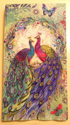 PEACOCK Paper Napkin for Crafts (ONE) Hand Towel size paper napkin from DaisysNapkinSupply @Emma Zangs Walters I've ordered one of these for you, I know you will love it.