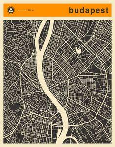 Poster | BUDAPEST MAP von Jazzberry Blue