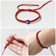 Red Kabbalah Bracelet Macrame bracelet Evil Eye by KUKAJTUcom, $5.00