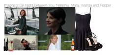 """Imagine a Girl Night Between You, Natasha, Maria, Wanda and Pepper"" by fandomimagineshere ❤ liked on Polyvore featuring Quiksilver, Madam Rage, Miu Miu and Stila"