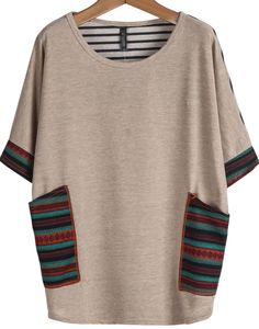 lockeres T-Shirt mit Taschen,apricot-Sheinside
