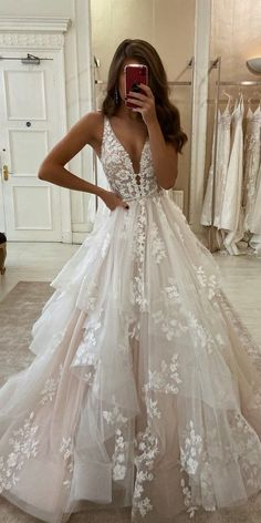 Wedding Dresses Lace Long Stunning Ball Gown V Neck Open Back Ivory Tulle Wedding DressesLace Bridal Gown.Wedding Dresses Lace Long Stunning Ball Gown V Neck Open Back Ivory Tulle Wedding DressesLace Bridal Gown Ivory Lace Wedding Dress, V Neck Wedding Dress, Cute Wedding Dress, Wedding Dress Trends, Best Wedding Dresses, Bridal Lace, Wedding Ideas, Tulle Lace, Lace Bridal Dresses