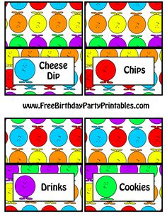 Gumball Birthday Party Free Food Label Tent Card Printable By Free Birthday Party Printables Cheese Dip Chips Drinks Cookies.png (2550×3300)