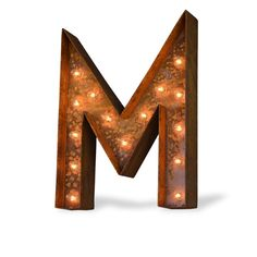 """24"""" Letter M Lighted Vintage Marquee Letters (Modern Font/Rustic)"""