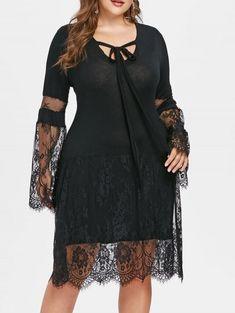 9be45371a4e Plus Size Lace Eyelash Knee Length Dress - BLACK 4X Party Fashion