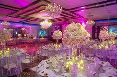 Elegant Jewish Wedding - White Centerpieces & Pink Uplighting {Jeff Kolodny Photography} - mazelmoments.com
