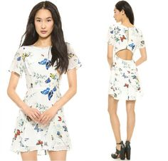 Women Butterfly Printed Hollow Out Backless Dress