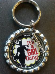 Its a girl thing girls softball bottlecap keychain by tracikennedy, $6.00