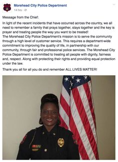 Ever think you're really helping the situation when the truth is everyone else just wishes you would stop?That's what's going on with the Morehead City Police Department in North Carolina, where Chief Bernette Morris issued this statement yesterday in reaction to the shooting deaths of two black men and five police officers: