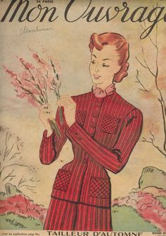 Mon Ouvrage women's needlework magazine - November 1949 fall knit suit pattern issue - French 40s vintage