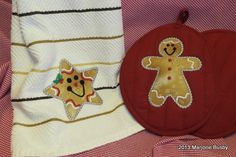 Holiday Embroidery on Towel and Potholder