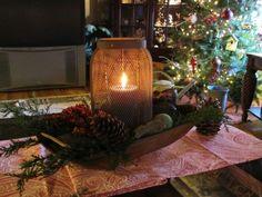 ♥ Burlap wrapped jars dough bowl ideas, beauti centerpiec, jar, prim candl