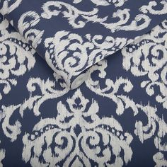 Indian Ink Damask Royal Blue Wallpaper | Graham & Brown UK
