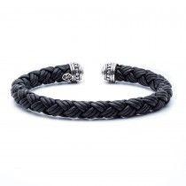Scott Kay Cuff Men's Bracelet with 8MM Woven Black Leather