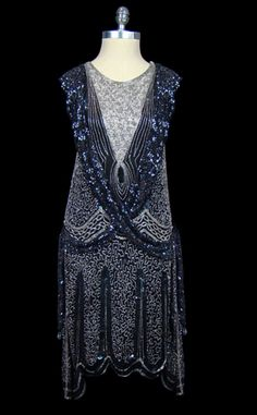 Blue flapper dress. Vintage 1920's