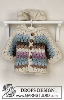 BabyDROPS 14-25 - Crochet jacket and booties in Eskimo and knitted blanket - Free pattern by DROPS Design