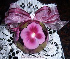 Hand painted Valentine Ornament-Pink Anemone-Be Mine-Mauve Glass Ornament