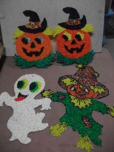 lot 4 vintage halloween melted popcorn plastic jol scarecrow ghost window decor ebay - Halloween Decorations Ebay