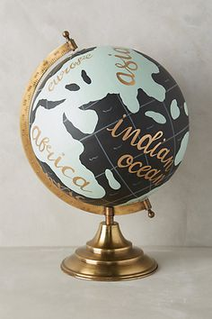 hand painted globe by 1 canoe 2 Painted Globe, Hand Painted, Another Word For Beautiful, Globe Ornament, Glass Ornaments, Map Globe, We Are The World, Decoration Design, My Room