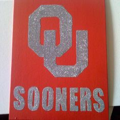 Glitter OU sign -- looks like you could do this with some Mod Podge pretty easily.