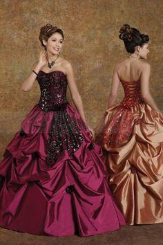 Fancy Gathered Salmon Rose Ball Gown