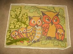 "Vintage Spinnerin Latch Hook Rug Pattern Canvas Family Owls 30"" x 40"" Started 