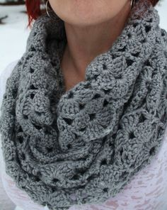 Crocheted Cowl Soft Grey Shell Stitch Womens by MissKittyCrochets, $55.00