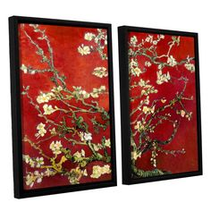 Red Blossoming Almond Tree by Vincent Van Gogh 2 Piece Floater Framed Canvas Set