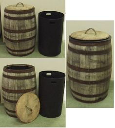 Amazon.com: Jack Daniels Whiskey Barrel Trash Can w/Lid-Liner: Home & Kitchen super neat.