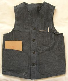Indigo Canvas Chambray Work Vest, Corozo buttons, hand made in USA.