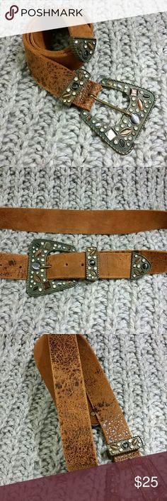 """VINTAGE LEATHER  BELT Worn in brown leather vintage belt with oversized rhinestone buckle. Missing three rhinestones but I purchased it like this and never bothered me (see pictures). This belt looks great on jeans and it pairs beautifully with flowy bohemian tops and dresses!! 41"""" long including buckle. Buckle is approximately 3.5"""" by 3"""". Vintage Accessories Belts"""