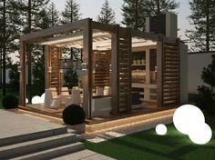 pergola marquise avec sol en bois massif, brise soleil en bois massif, chemin lumineux et lampes de sol