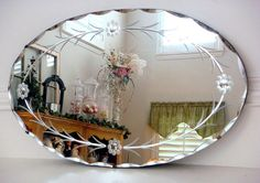 Antique ART Glass | ... about Vintage Art Deco Oval Etched & Reverse Cut Beveled Glass Mirror