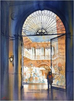 Courtyard - San Miguel - Mexico. Thomas W Schaller - Watercolor. 30x22 Inches