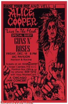 Alice Cooper and Guns N' Roses concert poster for their show at the UIC Pavilion in Chicago, Illinois on December 18, 1987.
