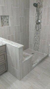 MASTER BATHROOM - Complete remodel x Vertical Tile - contemporary - Bathroom - Austin - Custom Surface Solutions-Gray shower Diy Bathroom Remodel, Shower Remodel, Bathroom Renovations, Budget Bathroom, Bathroom Ideas, Tub Remodel, Design Bathroom, Bath Design, Bad Inspiration