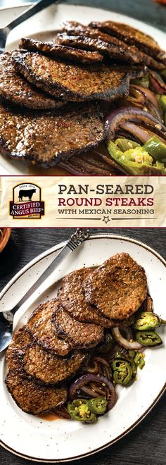 It is so easy to make a DELICIOUS dinner at home with these Pan-seared Round Steaks with Mexican Seasoning. Use Certified Angus Beef®️ brand bottom round steaks, thinly sliced and dusted with a FLAVORFUL seasoning blend including ancho and chipotle chili powders! Serve with veggies of your choice to complete this TASTY dinner recipe. #bestangusbeef #certifiedangusbeef #beefrecipe #steakrecipe #chipotle