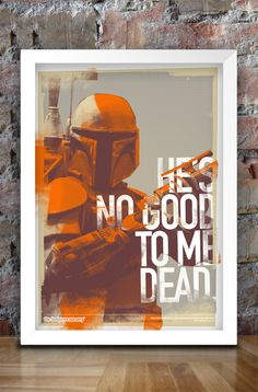 Star Wars Inspired Print (Villains Series: BOBA FETT v2) A3. $30.00, via Etsy.