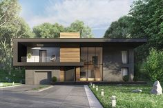 Get exterior design ideas for your modern house elevation with our 50 unique modern house facades. We show luxury house elevations right through to one-storeys. Small House Exteriors, Modern House Facades, Dream House Exterior, Modern House Design, Modern Architecture, Facade Design, Exterior Design, House Outside Design, Modern Farmhouse Plans