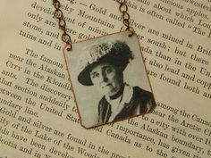 Feminist Necklace Jane Addams suffragist necklace mixed media jewelry by SarahWoodJewelry on Etsy