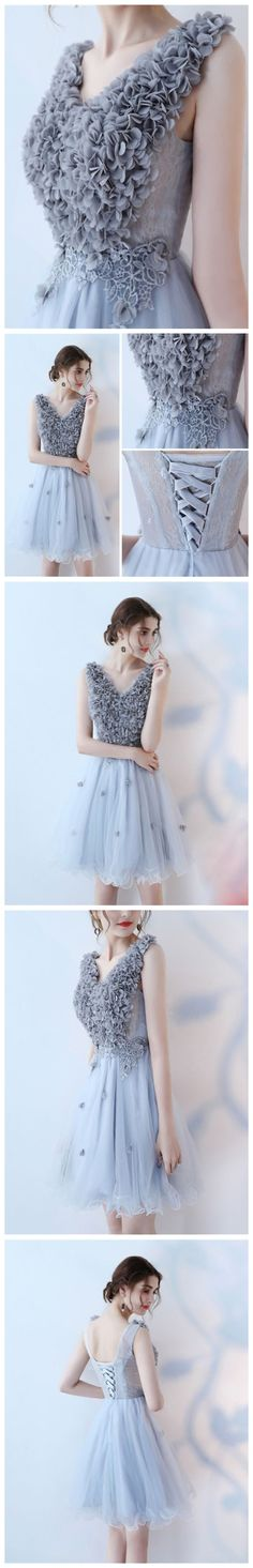 CHIC HOMECOMING DRESSES MODEST SHORT A-LINE V-NECK TULLE CHEAP PROM DRESS FORMAL GOWNS AM018