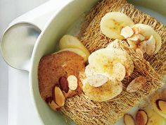 Banana-Nut Shredded Wheat (use almond milk to reduce sugar/fat / increase protein)