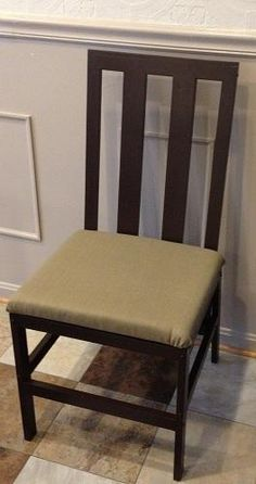 I want to make this!  DIY Furniture Plan from Ana-White.com  Modifications made to the Harriet Chair plan, to add a padded seat, slat back, and increase chair width by 2 inches.