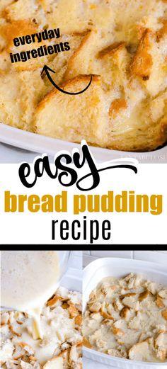 Köstliche Desserts, Delicious Desserts, Dessert Recipes, Yummy Food, Best Bread Pudding Recipe, Old Fashion Bread Pudding Recipe, Easy Bread Pudding, Recipe Old Bread, Hawaiian Bread Pudding Recipe