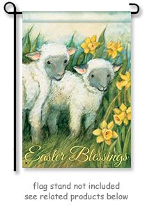 "Easter Blessings Garden Flag by artist Susan Winget for Breeze Art.   Garden size mini flag is 12.5"" Wide x 18"" Long.   Free Shipping in the USA"